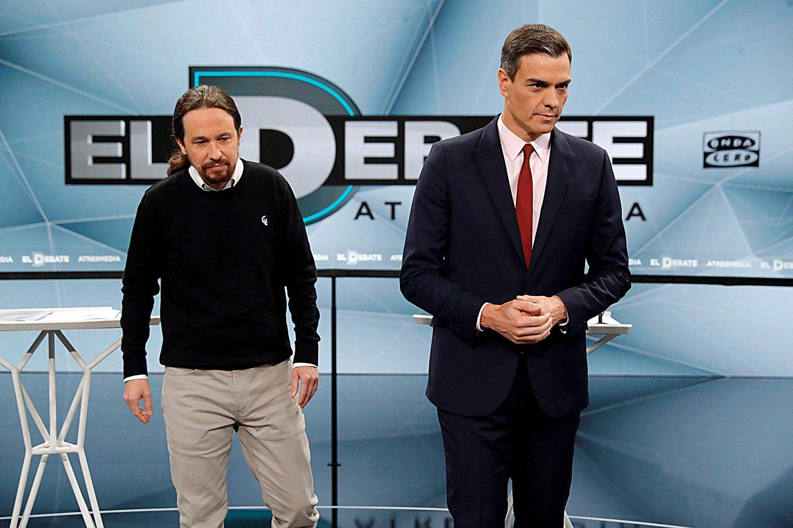 Pedro Sánchez i Pablo Iglesias durant el debat del dia 23 © Foto Juanjo Martín Efe