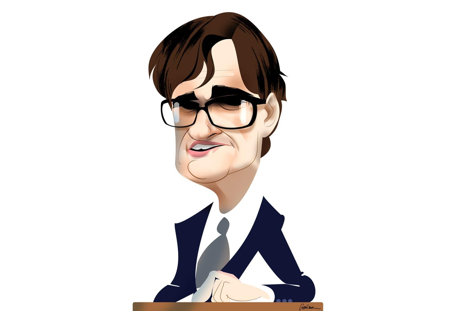 Retrato del nuevo ministro Salvador Illa. Caricatura de Luis Grañena