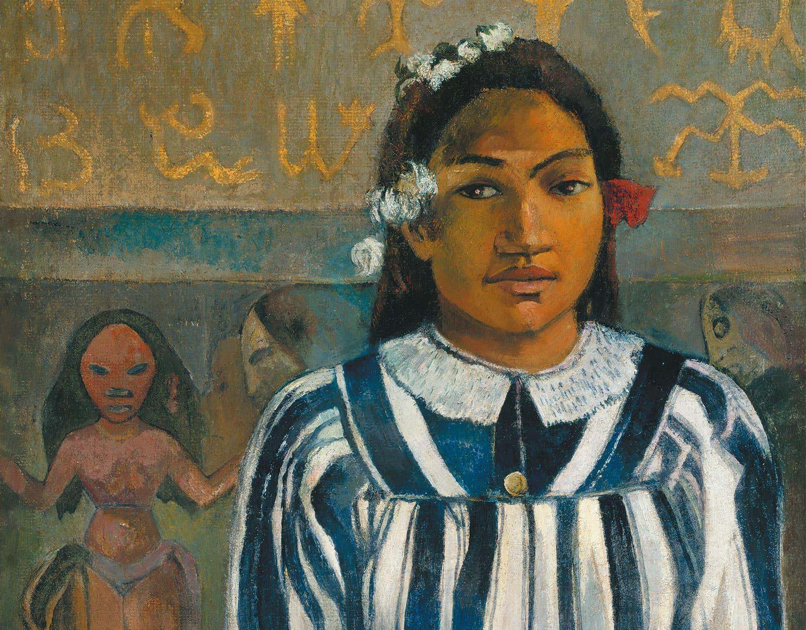 Quadre Els avantpassats de Tehamana de Gauguin exposat a la National Gallery de Londres.