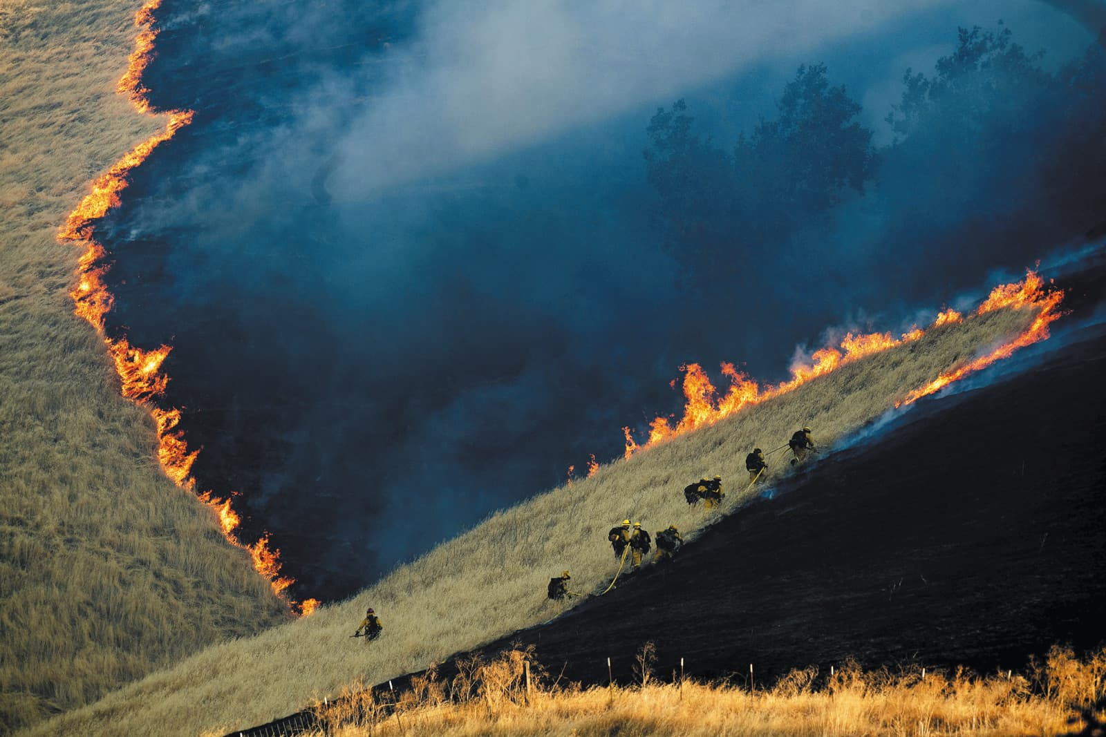 Lluita contra el foc a Brentwood, California. Finalista en Medi Ambient. Fotografia de Noah Berger.