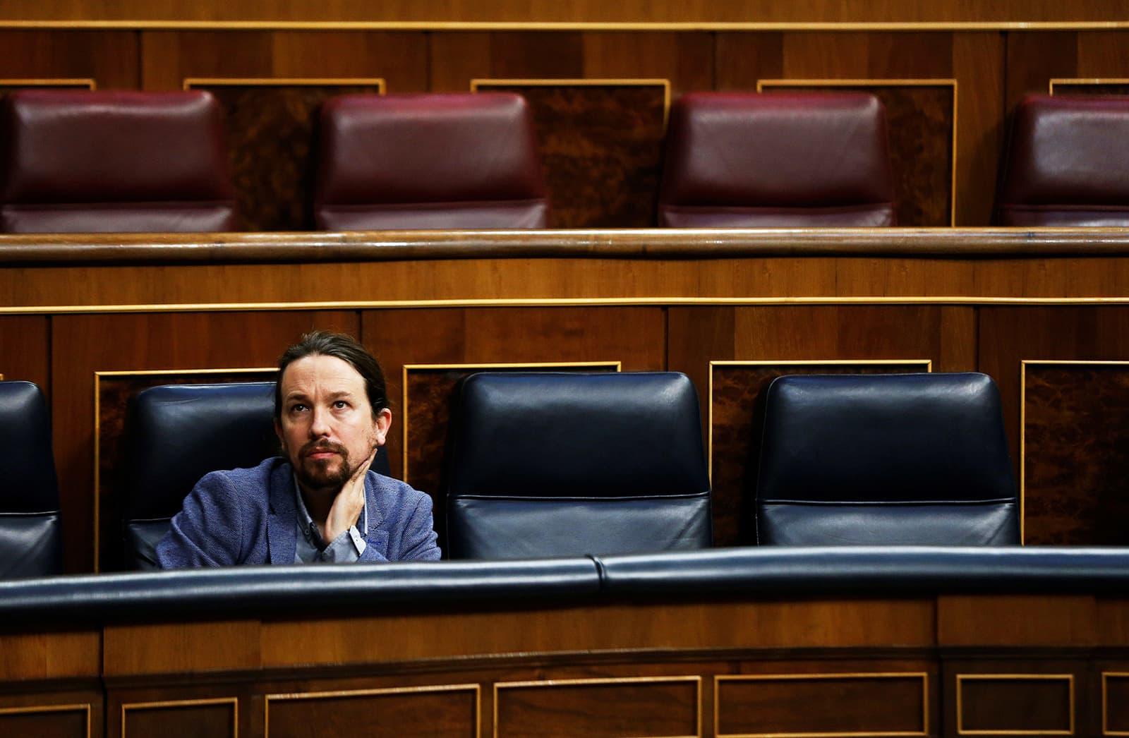 El vicepresident Pablo Iglesias al Congrés dels Diputats el 29 d'abril. Fotografia d'Emilio Naranjo. Efe