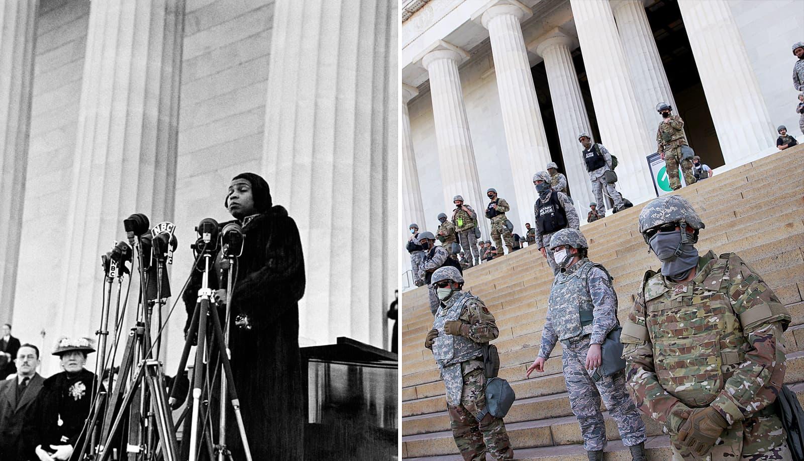 Marian Anderson en el concert que va fer a les escales del monument a Lincoln el 1939. Al costat, membres de la Guàrdia Nacional, al mateix lloc, durant les protestes per la mort de George Floyd en mans d'un policia. Fotografies de GettyImages.