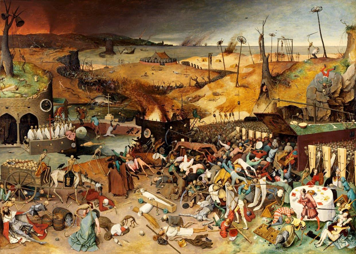 El triomf de la mort pintat el 1562 per Pieter Brueghel retrata una epidèmia de pesta.