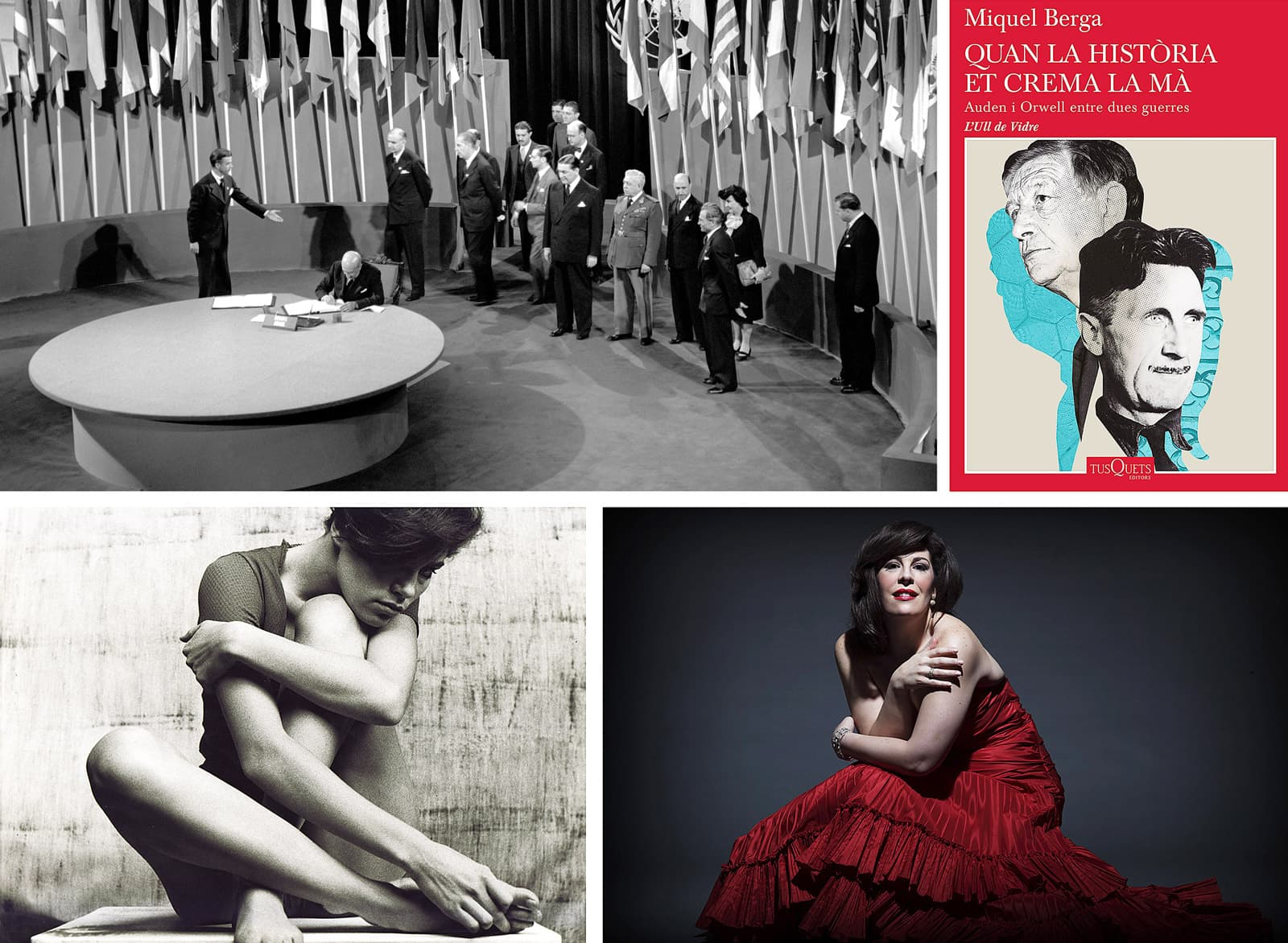Inauguració de l'ONU el 1945, llibre Quan la història et crema la mà, fotografia de Leopoldo Pomés i la cantant Sondra Radvanovsky.