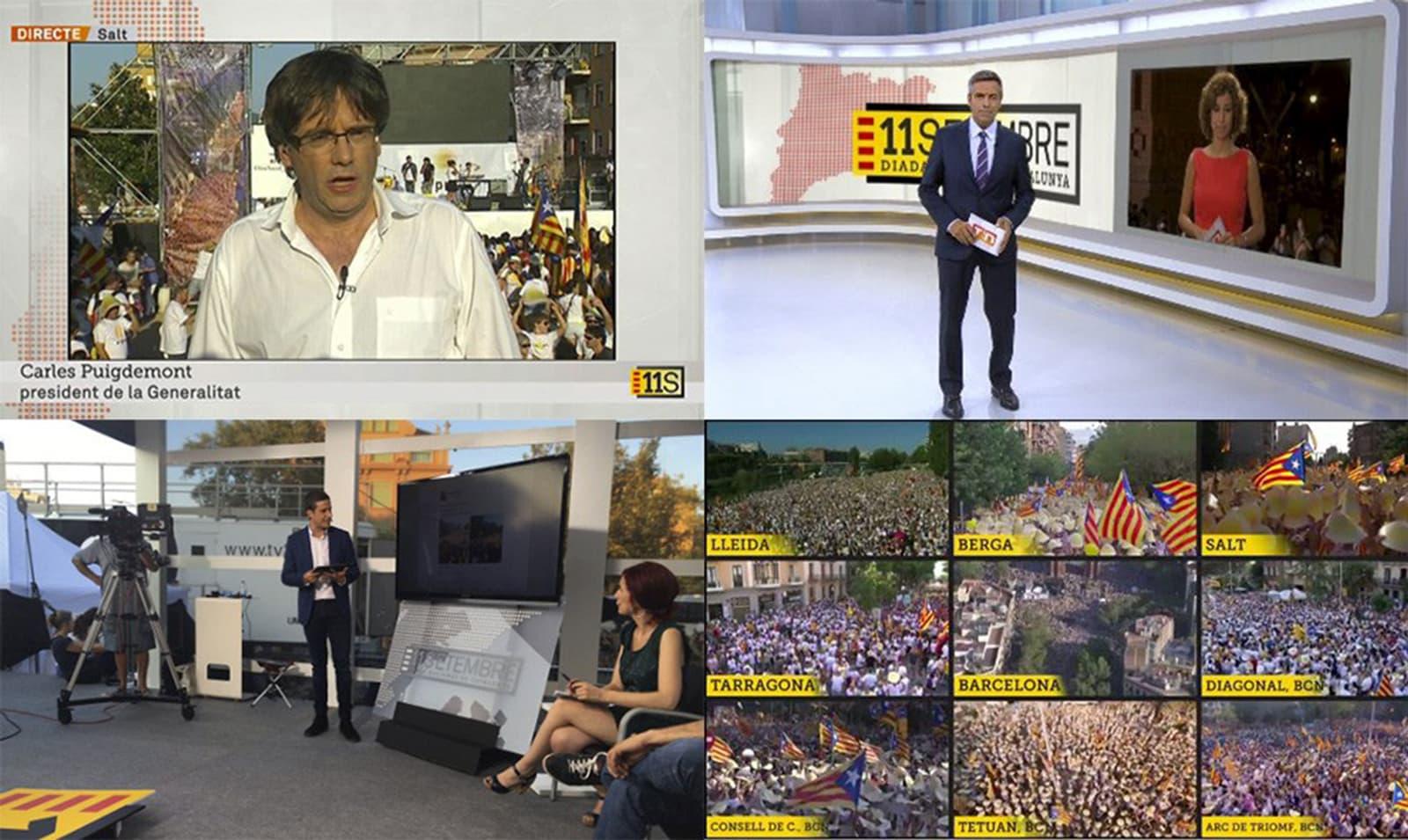 Diverses captures de pantalla del seguiment que va fer TV3 de l'11 de setembre del 2016.